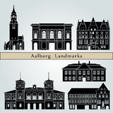 Aalborg Landmarks. And monuments isolated on blue background in editable vector file Royalty Free Stock Image