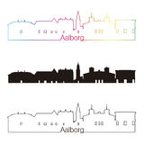 Aalborg skyline linear style with rainbow. In editable vector file Royalty Free Stock Photo