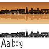 Aalborg skyline. In orange background in editable vector file vector illustration