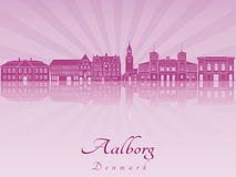 Aalborg skyline in purple radiant orchid. In editable vector file Royalty Free Stock Photo