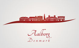 Aalborg skyline in red. And gray background in editable vector file Stock Photos
