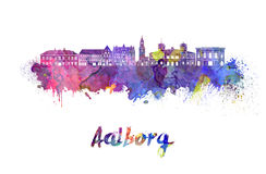 Aalborg skyline in watercolor. Splatters with clipping path Stock Photography
