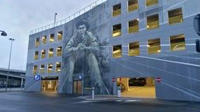 Aalborg universitetsområdeparkering - Wallpainting arkivbild