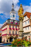 AALEN, GERMANY, SEPT. 2015: Statue of Joseph I at the market fou Stock Photos