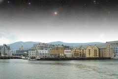 Aalesund natt Arkivbilder