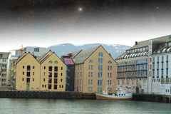 Aalesund night. Royalty Free Stock Image