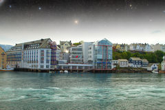 Aalesund night. Royalty Free Stock Images