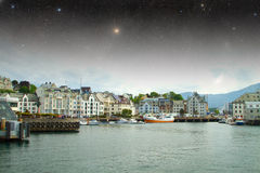 Aalesund night. Stock Image