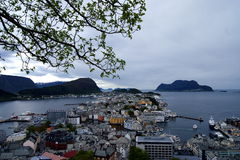 Aalesund, Norway from the look-out. View from the top of Aalesund, Norway over the city and the sea Royalty Free Stock Photos