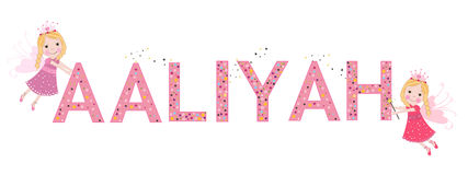 Aaliyah female name with cute fairy. Tale Stock Photo