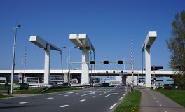 Bosrandbrug bridge in Aalsmeer, the Netherlands. Aalsmeer, the Netherlands. April 2018. The Bosrandbrug bridge, a bascule or drawbridge, connecting Aalsmeer and Stock Image