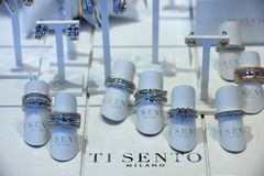 Aalsmeer, the Netherlands - april 21st 2018: Ti Sento jewelry. In a shop window Stock Photo