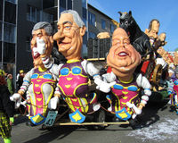 Aalst Carnival 2012. The annual carnival parade in Aalst, Belgium and a trailer with caricatures depicting various well known Belgians (Feb 20th 2012). The Royalty Free Stock Image