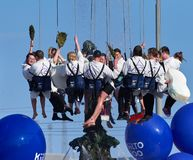 The Aalto University Student Union members wash Havis Amanda statue royalty free stock photos