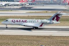 A7-AAM Katar Amiri Flug, der globale Bombenschütze BD-700-1A10 drücken aus Lizenzfreies Stockfoto
