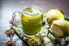 Aam panna shrabat on wooden surface. Royalty Free Stock Photography