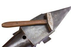 Aambeeld en hamer Royalty-vrije Stock Foto's