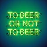 Aan Bier of niet aan het Teken van het Bierneon Royalty-vrije Stock Foto