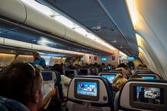 Aan boord van Hawaiian Airlines Stock Foto
