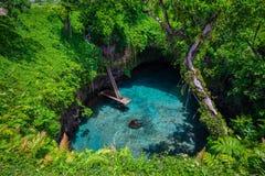 Aan de oceaangeul van Sua, Upolu, Zuid-Pacifisch Samoa, Royalty-vrije Stock Foto's