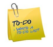 Aan-maken een lijst van concept op een post-it Stock Foto