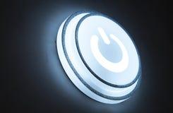 Aan/uit-knop op cirkel witte gloed stock afbeeldingen