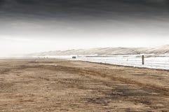 Aan zee Wijk Strand zur Winterzeit Stockbilder