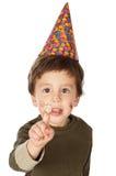 Aanbiddelijk jong geitje dat zijn verjaardag viert royalty-vrije stock afbeeldingen