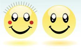 Aanbiddelijk jongen en meisje smileys Royalty-vrije Stock Afbeeldingen