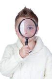 Aanbiddelijk kind met een vergrootglas Stock Fotografie