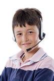 Aanbiddelijk kind met hoofdtelefoons Royalty-vrije Stock Afbeelding