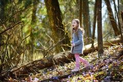 Aanbiddelijk meisje die de eerste bloemen van de lente in het hout plukken Royalty-vrije Stock Fotografie