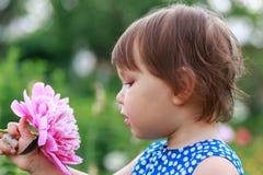 Aanbiddelijk meisje die purpere bloemen snuiven stock afbeelding