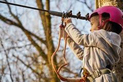 Aanbiddelijk meisje in helm in kabelpark in bos stock foto