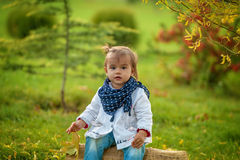 Aanbiddelijk meisje in het de herfstpark, die met bladeren spelen Stock Foto