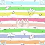 Aanbiddelijk naadloos patroon met kasteel in beeldverhaal stock illustratie
