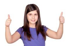Aanbiddelijk preteen meisje het goedkeuren met tumbs Stock Afbeelding