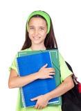 Aanbiddelijk studentenmeisje met blauwe ogen Stock Foto's