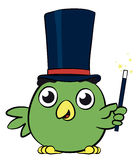 Aanbiddelijk weinig het beeldverhaalkarakter van de vogeltovenaar Royalty-vrije Stock Foto