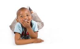 Aanbiddelijke 3 éénjarigen zwarte of Afrikaanse Amerikaanse jongen Royalty-vrije Stock Fotografie
