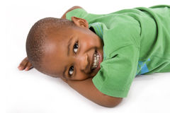 Aanbiddelijke 3 éénjarigen zwarte of Afrikaanse Amerikaanse jongen Royalty-vrije Stock Foto's