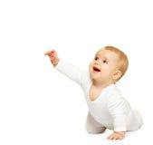 Aanbiddelijke baby die op witte achtergrond wordt geïsoleerd Royalty-vrije Stock Foto