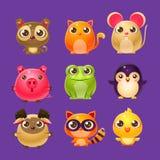 Aanbiddelijke Babydieren in Girly-Ontwerp Stock Afbeeldingen