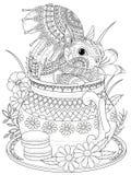 Aanbiddelijke eekhoorn volwassen kleurende pagina Royalty-vrije Stock Afbeelding