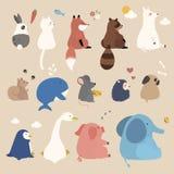 Aanbiddelijke geplaatste dieren royalty-vrije illustratie