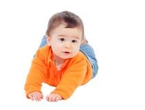 Aanbiddelijke halfjaarlijkse baby met het oranje liggen van Jersey Stock Fotografie