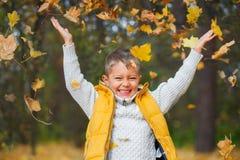 Aanbiddelijke jongen in de herfstpark Royalty-vrije Stock Foto