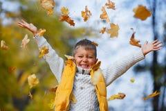 Aanbiddelijke jongen in de herfstpark Royalty-vrije Stock Fotografie