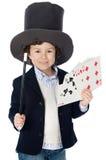 Aanbiddelijke kindkleding van illusionist met hoed stock afbeelding