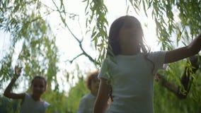 Aanbiddelijke kleine trailbreakers die onder wilg wandelen langs stock videobeelden